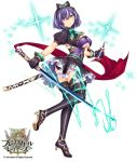 1girl bottle brave_girl_ravens breasts copyright_name dress frills full_body gloves glowing glowing_weapon green_eyes hairband heterochromia holding holding_weapon horosuke_(toot08) juliet_sleeves katana large_breasts logo long_sleeves looking_at_viewer looking_back official_art panties puffy_sleeves purple_hair ribbon sheath short_dress short_hair short_sleeves simple_background skirt smile solo sparkle standing sword thigh-highs underwear violet_eyes weapon zettai_ryouiki