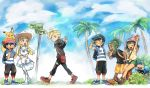 2girls 4boys alola_form alolan_vulpix animal animal_on_head backpack bag bangs_pinned_back beanie black_hair black_shirt blonde_hair blue_sky braid capri_pants cheering clenched_hand closed_eyes clouds cosmog day dress floral_print gladio_(pokemon) green_eyes green_hair grin hair_ornament hair_over_one_eye hairclip hat hau_(pokemon) hood hoodie lillie_(pokemon) long_hair looking_back malasada md5_mismatch mizuki_(pokemon_sm) multiple_boys multiple_girls on_head orange_shorts palm_tree pants pikachu pokemon pokemon_(anime) pokemon_(creature) pokemon_(game) pokemon_sm pokemon_sm_(anime) satoshi_(pokemon) shirt short_hair shorts signpost sky smile striped striped_shirt t-shirt tied_shirt tona_bnkz topknot tree twin_braids vulpix walking waving white_dress you_(pokemon_sm)