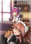 2girls :t absurdres alternate_costume animal_ears apron asymmetrical_horns bell bell_collar blue_eyes braid breasts caster_(fate/extra) collar detached_sleeves dragon_girl dress enmaided fang fate/grand_order fate_(series) fox_ears grey_eyes hair_ribbon highres horns lancer_(fate/extra_ccc) large_breasts long_hair looking_at_viewer maid maid_apron maid_headdress multiple_girls open_mouth paws pink_hair pointy_ears ribbon tamamo_cat_(fate/grand_order) waist_apron yonago_miko