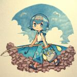 1girl blue_eyes blue_hair blue_sailor_collar blush bucket chinchou clouds cloudy_sky fishing_rod hairband highres holding hook ocean pants pokemon pokemon_(creature) pokemon_(game) pokemon_sm sandals sasa_kichi shirt short_hair sky sleeveless smile suiren_(pokemon) swimsuit swimsuit_under_clothes traditional_media wingull