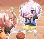 2girls ahoge basketball basketball_court basketball_uniform black_shirt blush brown_eyes brown_hair chibi fate/grand_order fate_(series) fujimaru_ritsuka_(female) hair_over_one_eye highres jako_(jakoo21) looking_at_another multiple_girls open_mouth purple_hair shielder_(fate/grand_order) shirt short_hair sportswear violet_eyes