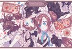2girls alternate_costume apron artist_name blue_eyes blush border brown_hair croissant double_bun dress enmaided eye_contact food frilled_skirt frills fruit hand_on_another's_head highres juliet_sleeves long_hair long_sleeves looking_at_another lying macaron maid maid_apron maid_headdress mei_(pokemon) multiple_girls neck_ribbon pie pokemon pokemon_(game) pokemon_bw pokemon_bw2 ponytail pudding puffy_sleeves raspberry ribbon skirt smile sweets symbol-shaped_pupils text thigh-highs touko_(pokemon) twintails twitter_username very_long_hair white_legwear wrist_cuffs