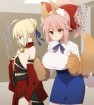 2girls ahoge artoria_pendragon_(all) bare_shoulders bell breast_conscious breasts collar cosplay costume_switch ears fate/grand_order fate/stay_night fate_(series) hand_on_own_chest inconvenient_breasts japanese_clothes kimono kujiran large_breasts looking_down multiple_girls no_legwear paws ponytail saber saber_(cosplay) sad shirt short_hair small_breasts tail tamamo_(fate)_(all) tamamo_cat_(fate) tamamo_cat_(fate)_(cosplay) tight_shirt translated