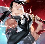 1boy black_hair commentary fullmetal_alchemist greed holy_pumpkin ling_yao long_hair ponytail red_eyes sleeveless smile solo sword twitter_username weapon