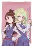 2girls blue_eyes blush brown_hair diana_cavendish frown green_hair hands_on_hips highres kagari_atsuko little_witch_academia long_hair long_sleeves looking_at_another multiple_girls neck_ribbon red_eyes ribbon school_uniform sidelocks skirt tama wand