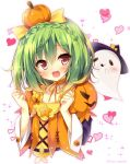 1girl :d blush bow braid crown_braid flower_knight_girl food_themed_clothes food_themed_hair_ornament ghost green_hair hair_bow hair_ornament heart heart_background highres huei_nazuki open_mouth orange_choker pepo_(flower_knight_girl) pumpkin_hair_ornament red_eyes short_hair smile solo upper_body white_background yellow_bow
