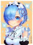 1girl bangs bare_shoulders blue_eyes blue_hair blush breasts cleavage dermiss detached_sleeves hair_ornament hair_over_one_eye hair_ribbon looking_at_viewer maid purple_ribbon re:zero_kara_hajimeru_isekai_seikatsu rem_(re:zero) ribbon short_hair smile solo twitter_username x_hair_ornament
