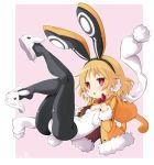 1girl animal_ears black_hairband black_legwear blonde_hair bow bowtie disgaea full_body hairband iwasi-r jacket leotard looking_at_viewer makai_senki_disgaea_5 pantyhose pink_background rabbit_ears red_bow red_bowtie red_eyes scarf short_hair slippers solo usalia_(disgaea) white_leotard white_scarf yellow_jacket
