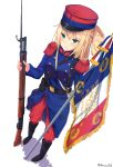 >:) 1girl bangs bayonet belt belt_pouch between_breasts blonde_hair blue_eyes blush boots breasts commentary_request double-breasted epaulettes flag flagpole french french_flag full_body gun hair_ornament hair_rings hat highres holding holding_gun holding_weapon jacket karo-chan long_hair medium_breasts military military_uniform original pants peaked_cap rifle shadow simple_background solo standing twitter_username uniform weapon white_background world_war_i x_hair_ornament