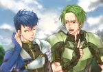 2boys adusa armor artist_name blue_eyes blue_hair clouds fingerless_gloves fire_emblem fire_emblem_echoes:_mou_hitori_no_eiyuuou force_(fire_emblem) gloves green_eyes green_hair male_focus multiple_boys one_eye_closed open_mouth paison teeth upper_body