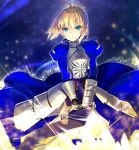 1girl ahoge armor armored_dress blonde_hair blue_dress blue_eyes blue_ribbon dress excalibur eyebrows_visible_through_hair fate/stay_night fate_(series) gauntlets hair_ribbon holding holding_sword holding_weapon looking_at_viewer ribbon saber sakuyosi short_hair solo standing sword weapon