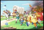 3girls 5boys 83pikoru ass bag belt bianca black_hair blonde_hair blue_hat blue_sky boots borongo braid breathing_fire brown_boots brown_gloves cape carrying castle character_request closed_eyes clouds covered_wagon crossed_arms curly_hair day dog dragon dragon_quest dragon_quest_ii dragon_quest_iii dragon_quest_iv dragon_quest_v drakee dress fire fleeing gloves goggles goggles_on_head grass green_hair green_shoes hair_pull handbag hat headband helmet hero_(dq4) hero_(dq5) horse house monster multiple_boys multiple_girls orange_hair orange_pants orange_shoes outdoors path prince_of_lorasia prince_of_samantoria princess_carry princess_laura purple_cape purple_hair red_boots red_cape red_gloves red_helmet reins road roto sheath shoes sky slime_(dragon_quest) soldier_(dq3) spiky_hair sword tunic turban weapon winged_helmet yellow_dress