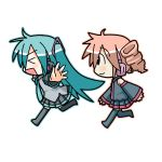 2girls bu-n chibi chibi_miku hatsune_miku kasane_teto minami_(colorful_palette) multiple_girls outstretched_arms spread_arms thighhighs utau vocaloid