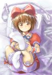 bag bed bloomers bow brown_eyes brown_hair crossdressing feet hirokazu karol_capel lying male messenger_bag shoulder_bag sketch socks tales_of_(series) tales_of_vesperia trap