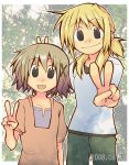blonde_hair brown_eyes brown_hair casual hidamari_sketch miyako sabano_misoni short_hair v yellow_eyes yuno