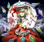 blonde_hair flandre_scarlet hands hat jewelry moon outstretched_arm outstretched_hand ponytail reaching red_eyes ring ross_(clumzero) ross_(pixiv191526) side_ponytail touhou wings