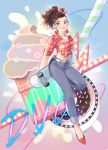 1girl alternate_costume artist_name behind_back belt blue_background blue_pants breasts brown_eyes brown_hair buttons character_name checkered_shirt cleavage closed_mouth collared_shirt crop_top cruiser_d.va cupcake d.va_(overwatch) denim doughnut drinking_straw earrings food full_body hair_ribbon hair_up headphones highres holding hoop_earrings jeans jewelry looking_at_viewer midriff neck_ribbon oversized_object overwatch pants peyo_han pink_ribbon ponytail red_shirt red_shoes ribbon shirt shoes skateboard skateboard_behind_back sleeves_folded_up smile solo sprinkles stomach tied_shirt white_belt white_ribbon