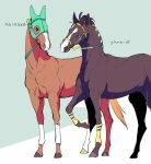 2others ahoge air_groove_(racehorse) bridle ear_covers highres horse mask multiple_others no_humans real_life silence_suzuka_(racehorse) takatsuki_nato