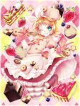 1girl artist_request blue_eyes blueberries boots bows cakes chef_hat colorful_background cookies cupcakes dress female_focus frills gloves hair_between_eyes hair_clips headband kagamine_rin looking_at_viewer puffy_short_sleeves short_hair solo stockings strawberries stripe_legwear sweet_magic_(song) tagme vocaloid whisk winking