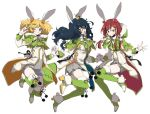 3girls ;) animal_ears aoba_tsumugi blonde_hair blue_eyes blue_hair boots crown ensemble_stars! fake_animal_ears full_body fur_trim glasses hand_holding harukawa_sora idol mini_crown multiple_girls one_eye_closed pom_pom_(clothes) rabbit_ears redhead sakasaki_natsume smile switch_(ensemble_stars!) thigh-highs thigh_boots thighs twintails v yamabukiiro yellow_eyes