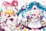 1boy 3girls ;d black_necktie blonde_hair blue_eyes blue_hair bow breasts brown_shorts dress floating_hair gloves hair_bow hair_ornament hand_in_hair hatsune_miku highres hug hug_from_behind kagamine_len kagamine_rin long_hair looking_at_viewer megurine_luka multicolored multicolored_nail_polish multiple_girls nail_polish necktie one_eye_closed open_mouth pleated_dress redhead saine shirt short_hair short_shorts short_sleeves shorts siblings sideboob simple_background sleeveless sleeveless_shirt small_breasts smile strapless strapless_dress striped striped_legwear striped_shirt thigh-highs twins twintails vertical-striped_legwear vertical-striped_shirt vertical_stripes very_long_hair violet_eyes vocaloid white_background white_dress white_gloves white_legwear white_shirt
