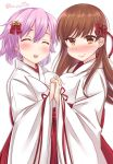 2girls alternate_costume blush bow breast_press brown_eyes brown_hair closed_eyes commentary_request fang hair_bow hair_ornament hakama hand_holding interlocked_fingers japanese_clothes kantai_collection long_hair looking_at_viewer miko multiple_girls ooi_(kantai_collection) open_mouth pink_hair red_bow red_hakama short_hair simple_background smile symmetrical_docking tama_(kantai_collection) twitter_username white_background wide_sleeves yukina_(black0312)