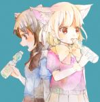 2girls :o animal_ears aqua_background arm_at_side black_hair black_ribbon black_skirt blonde_hair blue_shirt bottle brown_eyes brown_hair common_raccoon_(kemono_friends) dot_nose drink drinking extra_ears eyebrows_visible_through_hair eyelashes fang fennec_(kemono_friends) fingernails fox_ears from_side fur_collar fur_trim grey_hair highres holding holding_bottle kemono_friends looking_away looking_down mixed_media multicolored_hair multiple_girls nauka neck_ribbon no_gloves open_mouth pink_sweater pleated_skirt profile puffy_short_sleeves puffy_sleeves raccoon_ears ramune ribbon shirt short_hair short_sleeve_sweater short_sleeves simple_background skirt sparkling_eyes star star-shaped_pupils sweater symbol-shaped_pupils traditional_media tsurime upper_body white_hair yellow_ribbon yellow_skirt