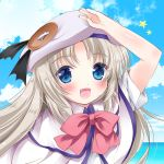 1girl asahina_yori bat_hair_ornament beach beret blue_eyes capelet day fang hair_ornament hat large_buttons little_busters! long_hair noumi_kudryavka ocean open_mouth outdoors salute school_uniform silver_hair solo upper_body white_hat