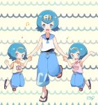 3girls blue_eyes blue_hair blue_pants hairband hand_holding hou_(pokemon) mei_(maysroom) multiple_girls musical_note open_mouth pants pokemon pokemon_(anime) pokemon_sm_(anime) sandals shirt short_hair siblings sisters sleeveless sleeveless_shirt sui_(pokemon) suiren_(pokemon) swimsuit swimsuit_under_clothes