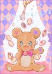 :3 :d blush bow cookie eyes food highres mahou_girls_precure! mofurun_(mahou_girls_precure!) nenne321 no_humans open_mouth precure smile star star-shaped_pupils stuffed_animal stuffed_toy symbol-shaped_pupils teddy_bear text wand