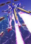 clenched_hands energy_wings flying from_behind fujimo_ruru gundam highres mecha no_humans standing v2_gundam victory_gundam