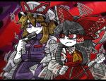 +++ 2girls ascot bangs black_hair blonde_hair blunt_bangs blush_stickers bow dress eyebrows_visible_through_hair fan folding_fan frilled_hat frilled_shirt_collar frills frown gap hair_between_eyes hair_tubes hakurei_reimu hat hat_ribbon line_shading long_hair looking_at_another looking_back mob_cap multiple_girls puffy_sleeves red_bow red_eyes red_ribbon red_shirt red_skirt ribbon shirt sidelocks skirt skirt_set smile suenari_(peace) tabard touhou violet_eyes white_dress white_hat white_skin wide_sleeves yakumo_yukari yellow_ascot