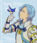1boy animal bird bird_on_hand blue_eyes blue_hair english fire_emblem fire_emblem_if hiyori_(rindou66) shigure_(fire_emblem_if) smile solo