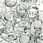 6+girls abukuma_(kantai_collection) bottle breasts buttons chair cup drinking_glass eating expressionless eyebrows_visible_through_hair fang fingerless_gloves fish flying_sweatdrops food gift gloves greyscale hair_between_eyes hair_ornament hair_ribbon hair_rings hairband headband holding_chopsticks isuzu_(kantai_collection) jacket kantai_collection kinu_(kantai_collection) leaning_forward long_hair mizuno_(okn66) monochrome multiple_girls nagara_(kantai_collection) natori_(kantai_collection) neck_ribbon one_side_up open_mouth pale_face party party_popper pizza plate pleated_skirt ponytail poster_(object) remodel_(kantai_collection) ribbon school_uniform serafuku short_hair short_sleeves side_ponytail skirt smile sushi sweatdrop table track_suit translated triangle_mouth twintails very_long_hair waving_arm yura_(kantai_collection) |_|