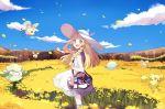 1girl bag blonde_hair braid clouds cosmog cottonee cutiefly dress duffel_bag field flower flower_field green_eyes hand_on_headwear hat lillie_(pokemon) long_hair looking_to_the_side mei_(maysroom) open_mouth oricorio petals poke_ball_theme pokemon pokemon_(creature) pokemon_(game) pokemon_sm sky sleeveless sleeveless_dress sun_hat twin_braids white_dress white_hat