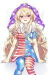 1girl ahoge american_flag_dress american_flag_legwear bandaid bandaid_on_face blonde_hair blush cheunes clownpiece crying crying_with_eyes_open dress fairy_wings hair_between_eyes hat highres jester_cap long_hair looking_at_viewer neck_ruff polka_dot_hat purple_hat short_sleeves sidelocks simple_background sitting solo star star_print striped striped_dress tears touhou very_long_hair violet_eyes wavy_hair white_background wings