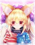 1girl alternate_breast_size animal_ears bangs blonde_hair blunt_bangs blush breasts clownpiece collarbone eyebrows_visible_through_hair fox_ears hair_between_eyes hat jester_cap kemonomimi_mode large_breasts long_hair polka_dot red_eyes short_sleeves solo star star_print striped touhou z.o.b
