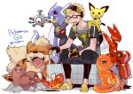1boy backpack bag black_pants blonde_hair bottle capri_pants charmander closed_eyes copyright_name dratini dugtrio glasses highres kazue_kato magikarp magnemite male_focus male_protagonist_(pokemon_go) open_mouth pants pichu pokemon pokemon_(creature) pokemon_go scizor shirt simple_background sitting smile t-shirt umbreon visor_cap water_bottle white_background