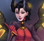 1girl alternate_costume anolea artist_name beckoning black_hair bodysuit breasts dark_persona dated demon_horns devil_mercy earrings eyebrows eyelashes eyeliner facial_mark forehead_mark glowing glowing_wings gradient gradient_background grey_background highres horns index_finger_raised jewelry light_smile lips looking_at_viewer makeup maroon_background mechanical_wings mercy_(overwatch) nose orange_wings overwatch red_lips short_hair signature small_breasts solo spread_wings upper_body violet_eyes watermark web_address wings