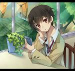 1boy :o aldnoah.zero arm_support bangs black_hair blush brown_jacket cellphone chair collarbone collared_shirt commentary_request container expressionless eyebrows_visible_through_hair flower_pot hand_on_own_cheek head_rest head_tilt holding holding_phone indoors kaizuka_inaho letterboxed long_sleeves looking_at_phone male_focus mecha necktie open_mouth phone plant potted_plant red_eyes red_necktie shirt sitting smartphone table tree usamata white_shirt window wing_collar