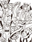2boys 2koma 80s claws comic deathsaurus decepticon dragon insignia long_tongue monochrome multiple_boys no_humans oldschool open_mouth piercing pose sharp_teeth standing tarn teeth tongue tongue_out tongue_piercing transformers transformers_victory trunchbull