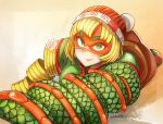 1girl arms_(game) artist_name ass bangs beanie blonde_hair blunt_bangs blush bob_cut breasts chinese_clothes closed_mouth domino_mask dragon dragon_(arms) eastern_dragon food green_eyes green_shirt hat itadaku knit_hat lips looking_away looking_up lying mask medium_breasts min_min_(arms) noodles nose on_stomach orange_hat ringed_eyes shirt short_hair short_sleeves smile solo thick_eyebrows turtleneck
