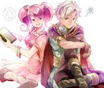 1boy 1girl blush boey_(fire_emblem) book dark_skin embarrassed fire_emblem fire_emblem_echoes:_mou_hitori_no_eiyuuou gloves holding holding_book mae_(fire_emblem) pink_hair sitting smile twintails white_hair