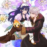1boy 1girl animal_ears blush bunnysuit easter_egg embarrassed fire_emblem fire_emblem:_kakusei fire_emblem_heroes floral_print flower holding lucina male_my_unit_(fire_emblem:_kakusei) my_unit_(fire_emblem:_kakusei) nezumoto rabbit_ears