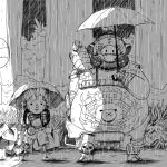 2boys animated animated_gif bare_shoulders big_belly blush_stickers bus_stop forest gas_mask greyscale hair_ornament holding holding_umbrella junkrat_(overwatch) long_hair male_focus mechanical_arm monochrome multiple_boys nature navel outdoors overwatch parody peg_leg pig ponytail rain roadhog_(overwatch) shade skull smile spikes spiky_hair tattoo the-scared-crow tire tonari_no_totoro torn_clothes tree umbrella