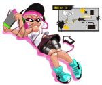 1girl angry arrow between_breasts bike_shorts blue_shoes breasts cable cellphone dark_skin domino_mask entangled headphones headset inkling lying mask minus8 nintendo nintendo_switch on_back phone pink_hair shirt shoes short_hair simple_background smartphone sneakers solo splatoon sweat tentacle_hair white_background white_shirt