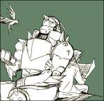 2boys alphonse_elric armor back-to-back bird brothers edward_elric fullmetal_alchemist kakuu lowres multiple_boys reading siblings