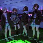 4girls belt black_skirt boots brown_hair cardigan cellphone closed_eyes clouds coat cross crucifix green_eyes grey_hair hair_ornament hairclip hands_in_pockets highres hood hooded_jacket jacket kanikumi_toi looking_at_viewer looking_to_the_side multiple_girls night original phone shirt shoes short_hair shorts skirt sky smartphone sneakers socks standing twintails