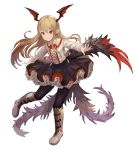 1girl ame_sagari bat_wings black_skirt blonde_hair blush fang flower frilled_skirt frills granblue_fantasy head_wings long_hair long_sleeves outstretched_arms pointy_ears red_eyes red_rose rose shirt skirt smile solo spread_arms vampire vampy white_shirt wings