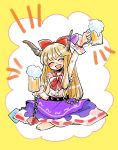 1girl :d arm_up barefoot beer_mug bow bowtie closed_eyes facing_viewer fang full_body hair_bow highres horn_bow horns ibuki_suika indian_style komaku_juushoku open_mouth purple_bow purple_skirt red_bow red_bowtie shirt sitting skirt sleeveless smile solo torn_clothes torn_sleeves touhou white_shirt yellow_background